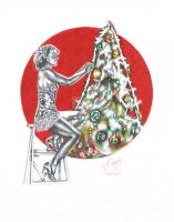 CHRISTMAS PINUP GIRL by martyparkerart