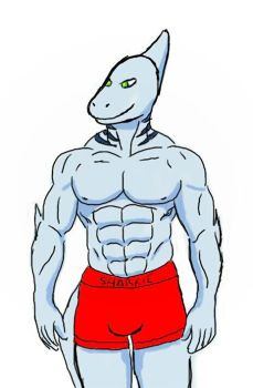 Buff Anthro Sharkie by RecycledSushi