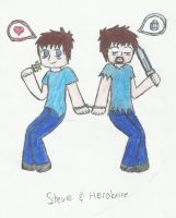 steve and herobrine by AkatsukiLovesevery1