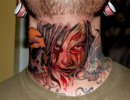 Zombie throat tattoo by JasonRhodekill