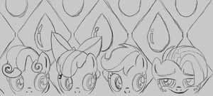 Shadowbox Mock-up Sketch:  One Bad Seed by The-Paper-Pony