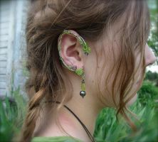 Peridot and Hematite Elf Ear Cuffs by jhammerberg