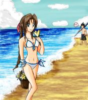 Aerith- Flowers at the Beach by LiliNeko