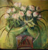 Still Life Roses in a Glass Vase by Silvestris9