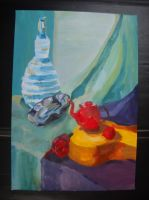 still life with guitar and ceramic by Dziecko-we-mgle