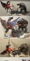 Gamera VS Gyaos Diorama by Legrandzilla