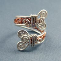 Mixed Metals Adjustable Ring by Gailavira