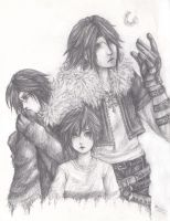 child Squall, Squall and Leon by tokinokoe