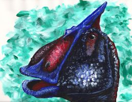 The Face of Saurolophus by BondArt
