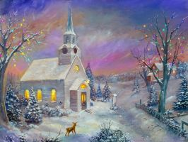 Wintery Church by dashinvaine