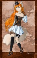 Tera in steampunk style colored by fearlarsen