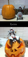 Ezio makes a pumpkin for Halloween by lizathehedgehog