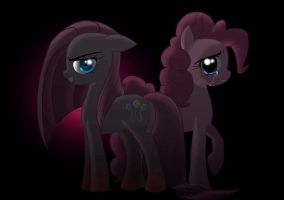 Pinkamena and Pinkie Pie by AngelofHapiness