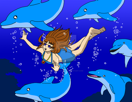 Young Shaya Swimming with Dolphins by TheThunder-Art