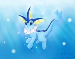 Vaporeon swimming by RuiNami