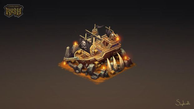 Isometric Pirate Ship by Sephiroth-Art