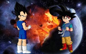 Goku Jr Vs Vegeta Jr by dragonlucky86