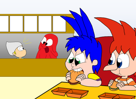 Eddy and Phineas at a Burger Joint by TMan5636