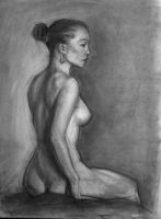 Partial nude Charcoal by NMEZero