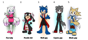 Sonic Adoptables 1-5 by kellllly