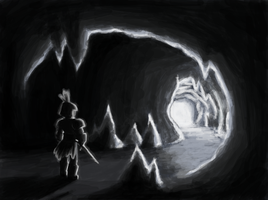 Exit in a cave by Wrriter