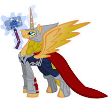MLP: thor odinson (armored) by lizzytheviking