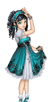 teal lolita.pixel shaded by Bitterkawaii