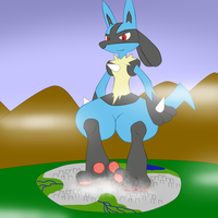 Giant Lucario and the little city by Kidousenai