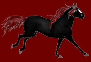 running horse line art by diamond mint-d311v6t RED by phee-evans