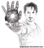 Robert Downey Jr as Iron Man by devsash