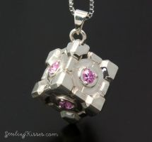 Portal Companion Cube Pendant 2 by Sketchy-Stories