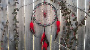 Red and Black Dream Catcher by xsaraphanelia