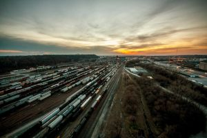 Train yard Sunset by 5isalive