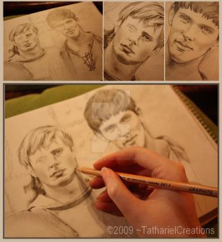 Arthur and Merlin WIP by TatharielCreations