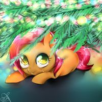 Babs seed loves to hide under the christmas tree by Daughter-of-Fantasy