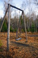 Swing in the woods by Tumana-stock