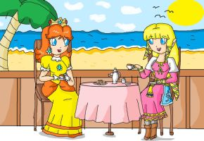 daisy and zelda-tea in the beach by ninpeachlover