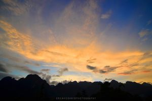 Vang Vieng Sunset by drewhoshkiw