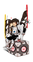 Portal 2: ParuruMiroro as Atlas and P-Body by Miharuruu