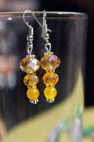 Vibrant Yellow Beaded Earrings by Clerdy