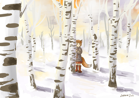 Birch forest and Someone by Lahara