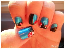 Toadstool Forest Nails by Ebony-Rose13