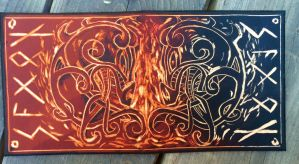 Update: leather Viking dragon fire wallet by Katiefiorito