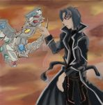 Kaiser Ryo and chibi cyber end dragon by mandychan00