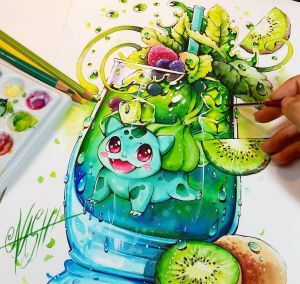 Green Spirit Bulbasaur by Naschi