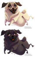 Pug and variation sticker by kiki-doodle