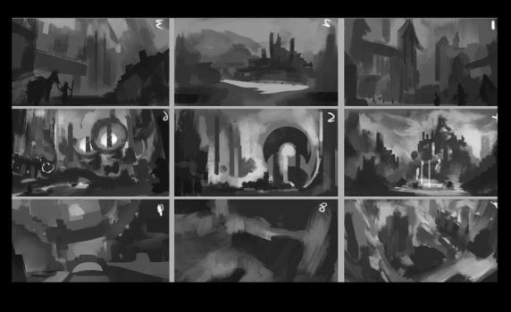 Dark Fantasy: Landscape Thumbnails by CGlas