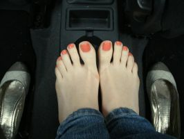 Shoes Off In Car by Foxy-Feet