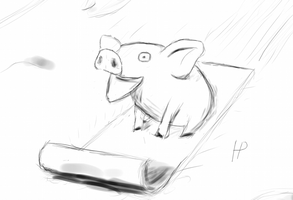 Reddit Request - A Sledding Pig by Morbidi