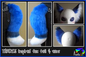 TARDIS inspired fox tail/ear set by PhoenixColor